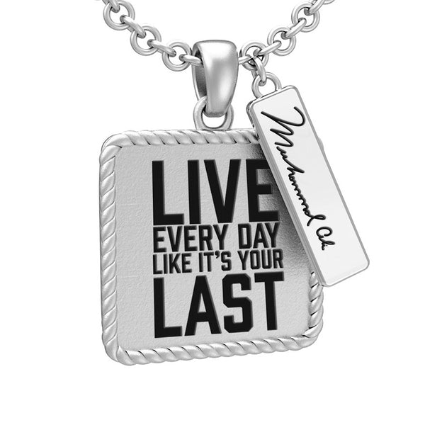 Muhammad Ali™ Square Pendant with Inspirational Quote - Choose Your Ali Quote