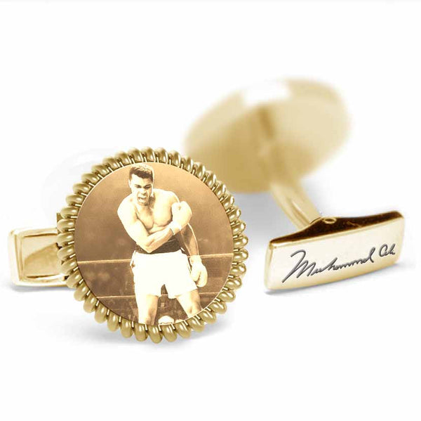Licensed <b>Muhammad Ali™</b> Round Rope Cufflinks with Iconic Portrait