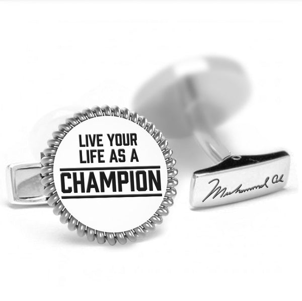 Licensed <b>Muhammad Ali™</b> Round Cufflinks with a Rope Border and Inspirational Quote - Choose Your Ali Quote