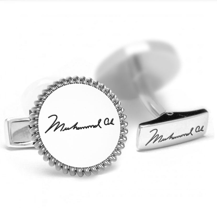 Licensed <b>Muhammad Ali™</b> Round Cufflinks with a Rope Border and Signature