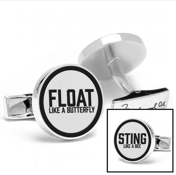 Licensed <b>Muhammad Ali™</b> Round Cufflinks with a Black Border and Inspirational Quote - Choose Your Ali Quote