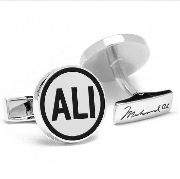 Licensed <b>Muhammad Ali™</b> Round Cufflinks with a Black Border with