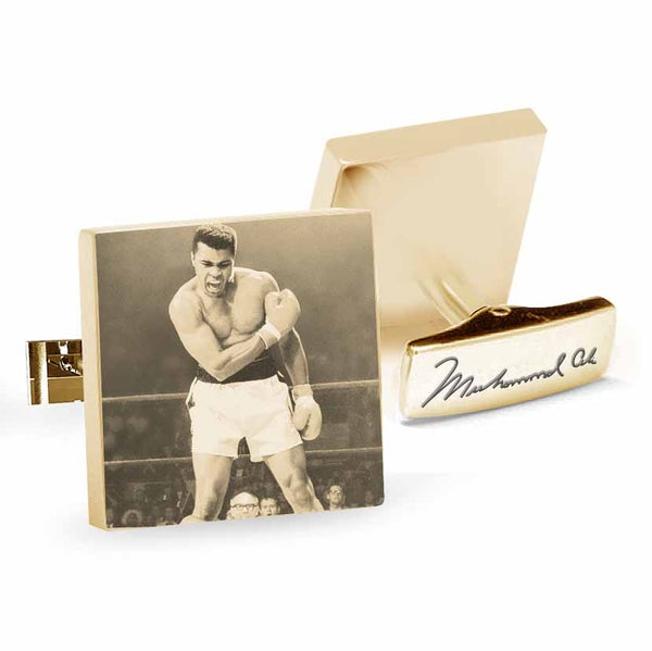 Licensed <b>Muhammad Ali™</b> Square Cufflinks with Iconic Portrait