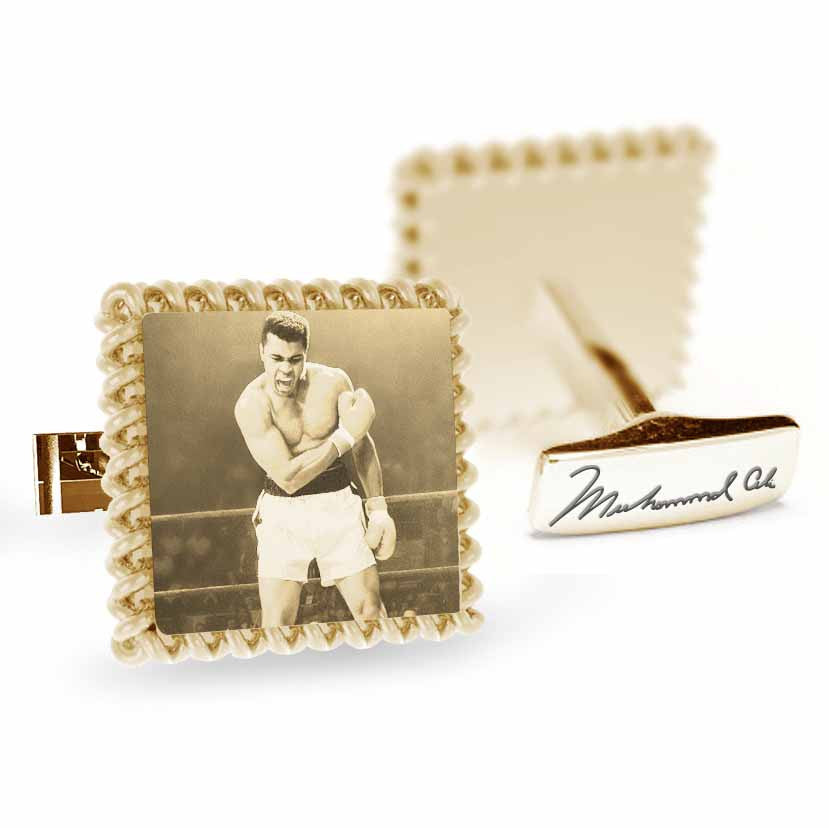 Licensed <b>Muhammad Ali™</b> Square Rope Cufflinks with Iconic Portrait