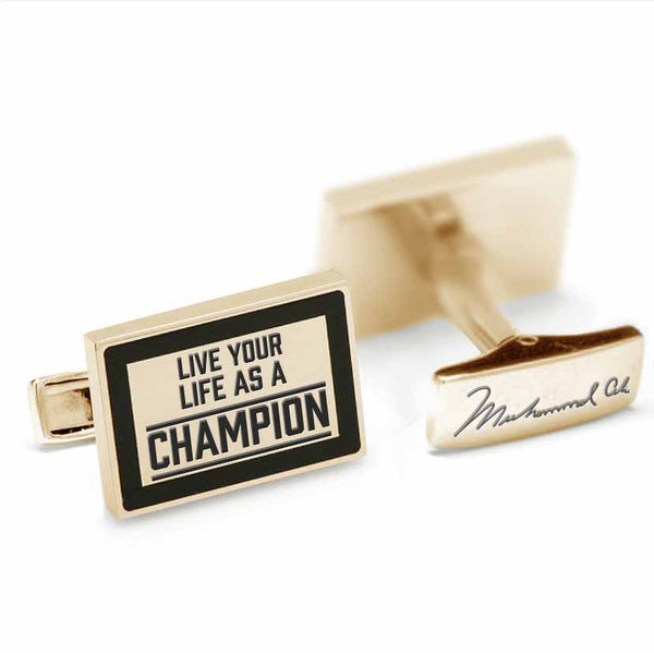 Licensed <b>Muhammad Ali™</b> Square Cufflinks with a Black Border and Inspirational Quote - Choose Your Ali Quote