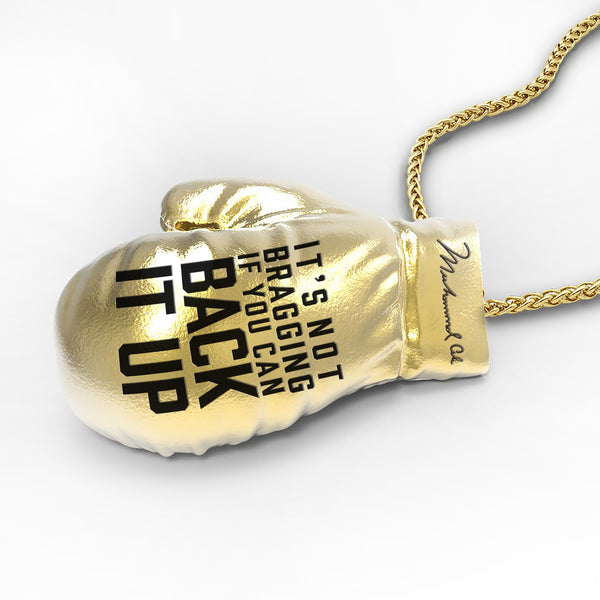 Licensed <b>Muhammad Ali™</b> Boxing Glove Pendant with Signature and Inspirational Quote - Choose Your Ali Quote