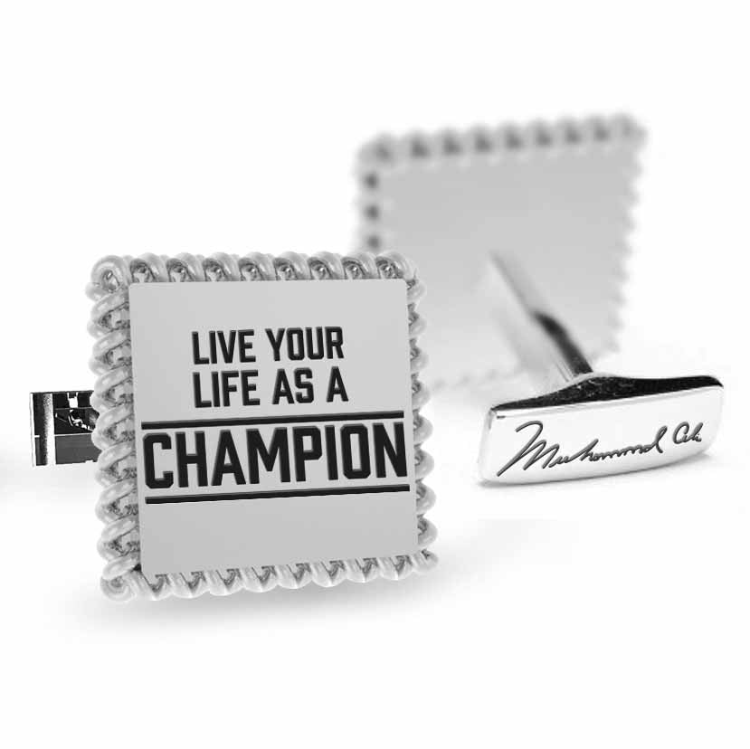 Licensed <b>Muhammad Ali™</b> Square Cufflinks with a Rope Border and Inspirational Quote - Choose Your Ali Quote