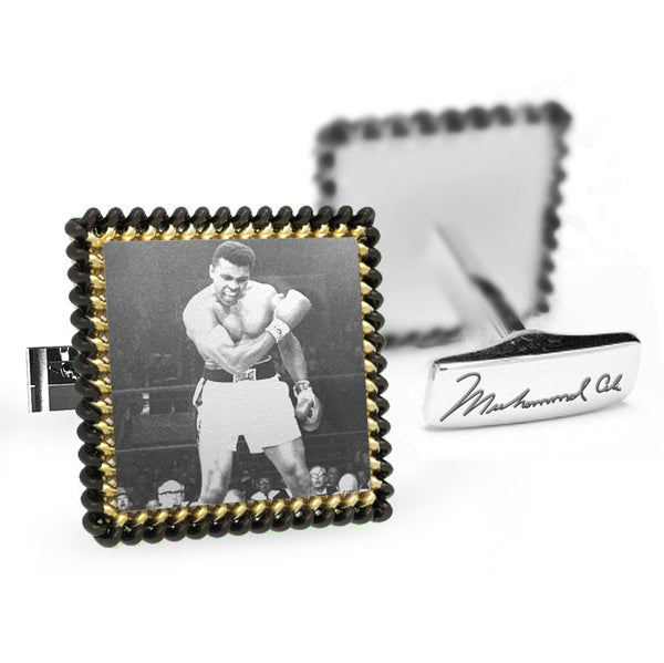 Licensed <b>Muhammad Ali™</b> Square Cufflinks Rope Border with Iconic Portrait