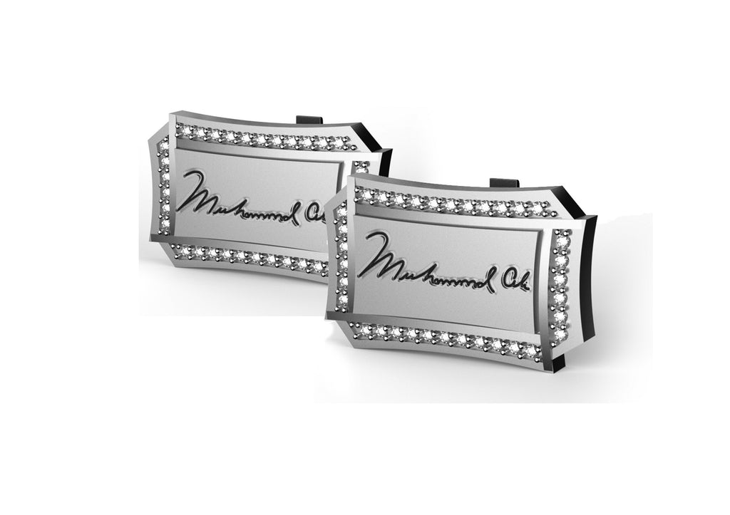 Licensed <b>Muhammad Ali™</b> Fancy Rectangle Cufflinks with Stones and Signature