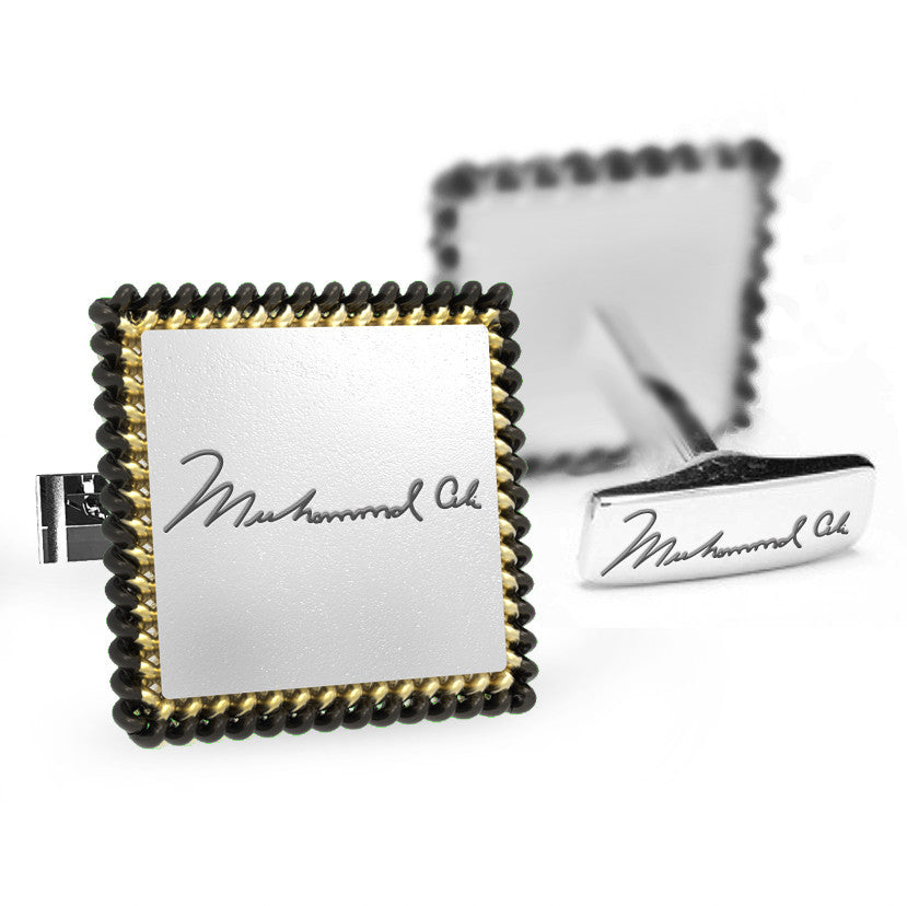 Licensed <b>Muhammad Ali™</b> Square Cufflinks with a Two-Tone Rope Border and Signature