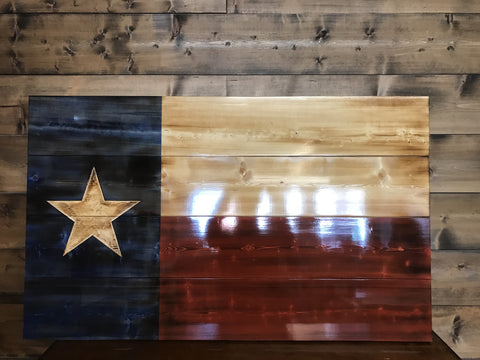 Hand Carved Charred Texas