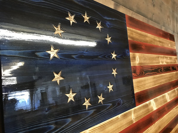 Hand Carved Charred Betsy The Rustic Flag Company
