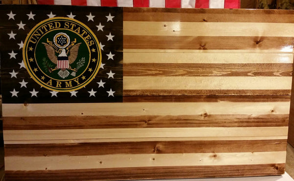 Rustic Flag With Military Branch Seal