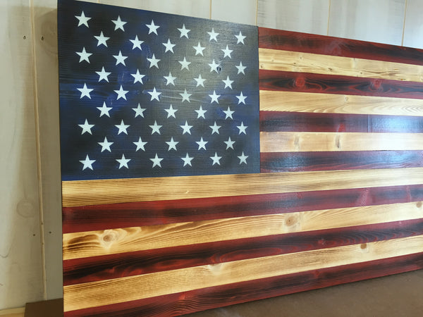 Charred American With Painted Stars The Rustic Flag Company