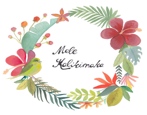 Mele Kalikimaka Bird Wreath
