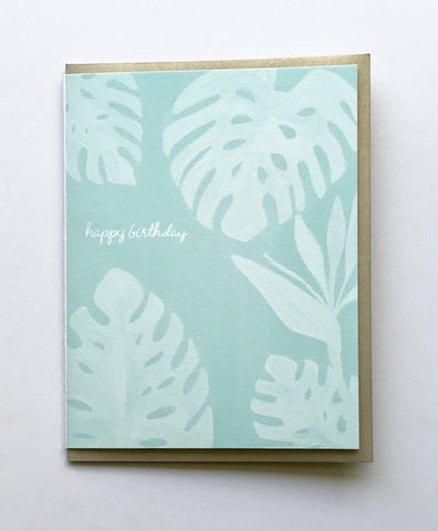 Happy Birthday Monstera Sea Glass