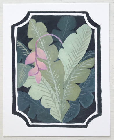 Victorian Pink Heliconia & Banana Leaves