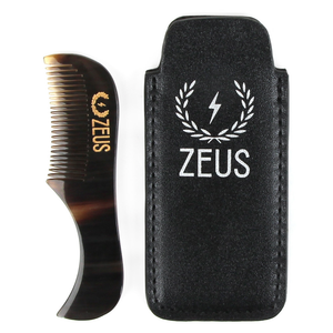 Zeus Natural Horn Mustache Comb With Leather Sheath