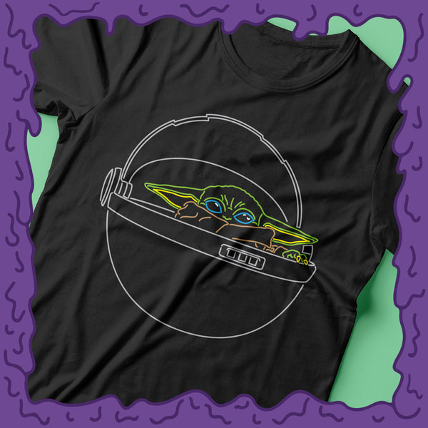 baby yoda shirt carrier tee t-shirt tshirt design mandalorian the child neon zoom