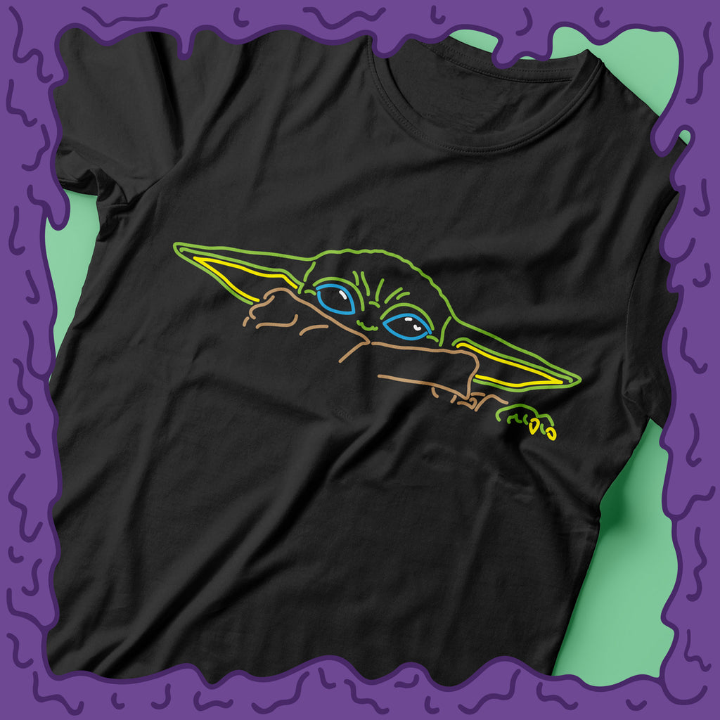 baby yoda shirt peek tee t-shirt tshirt design mandalorian the child neon zoom
