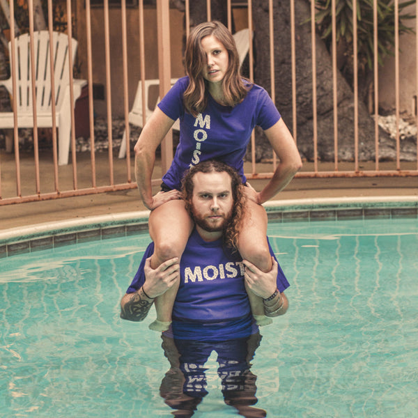 shoulder pool moist horizontal logo purple black shirt model shot