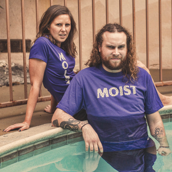 half wet poolside moist horizontal logo purple black shirt model shot