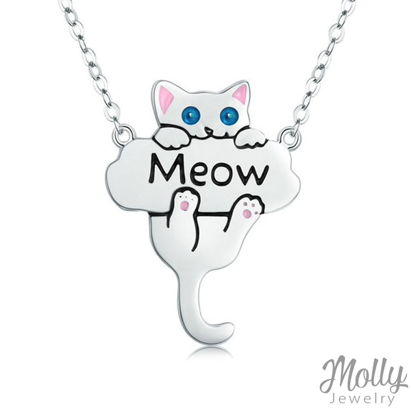 Meow Kitty Silver Necklace - Jewelry - Monty Boy