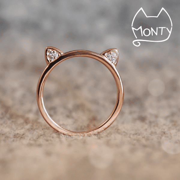 Meow Cat Ring Rose Gold Monty Boy