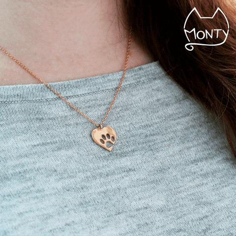 PAWsome Love - Cat Necklace (Rose Gold) - Jewelry - Monty Boy