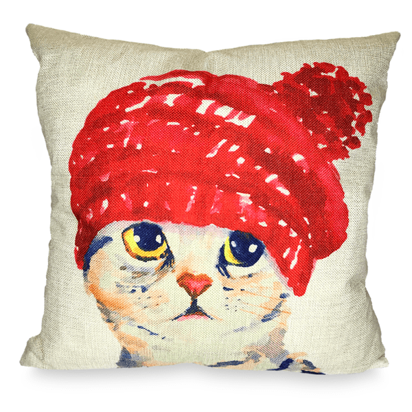 Red Hood Cat Toss Pillow Case - Merchandise - Monty Boy