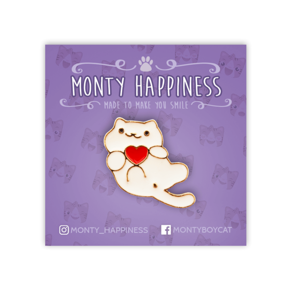 Cute White Cat Pin - Accessories - Monty Boy