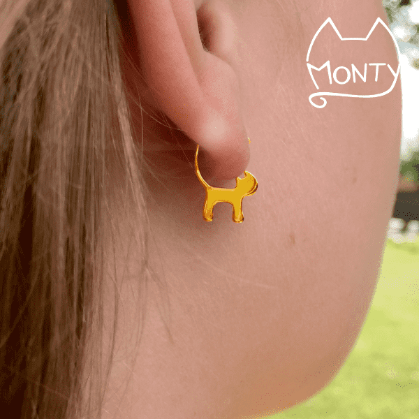 Cats - Cat Earrings (Gold) - Jewelry - Monty Boy