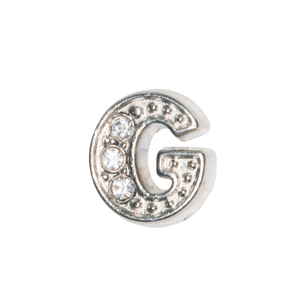 Silver & Crystal Letter G Charm