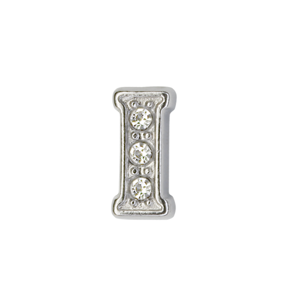 Silver & Crystal Letter I Charm - SPECIAL jewelry - Monty Boy