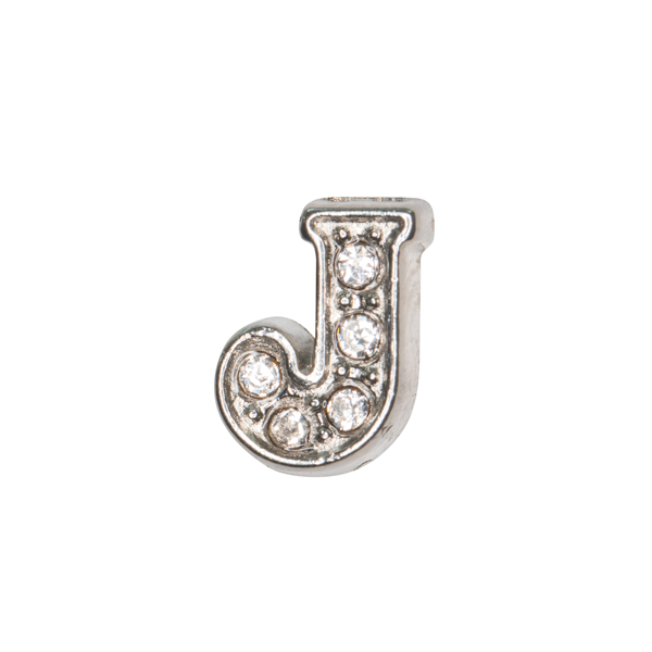 Silver & Crystal Letter J Charm - SPECIAL jewelry - Monty Boy