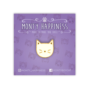 Cute Kitty Face Pin White - Accessories - Monty Boy