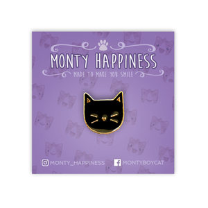 Cute Kitty Face Pin Black - Accessories - Monty Boy