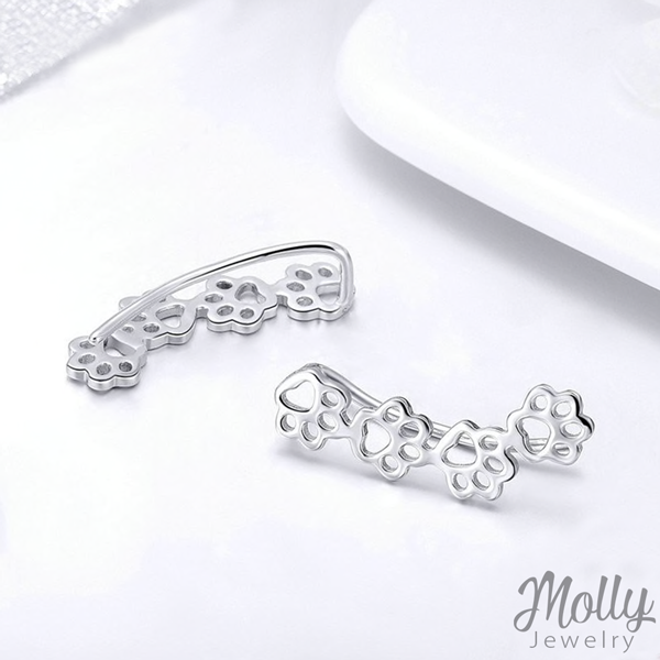 Kitty Paw Silver Earrings - Jewelry - Monty Boy