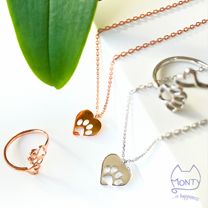 PAWsome Love - Cat Necklace (Silver) - Jewelry - Monty Boy