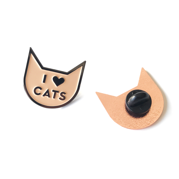 I Love Cats Pin Rose/Black - Accessories - Monty Boy
