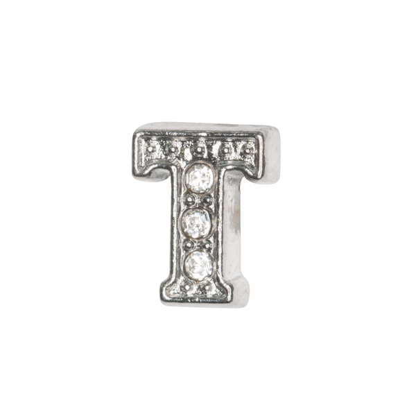 Silver & Crystal Letter T Charm - SPECIAL jewelry - Monty Boy