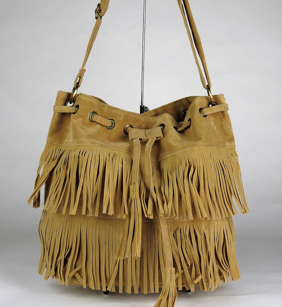 bag: Faux Suede Tassel Handbag