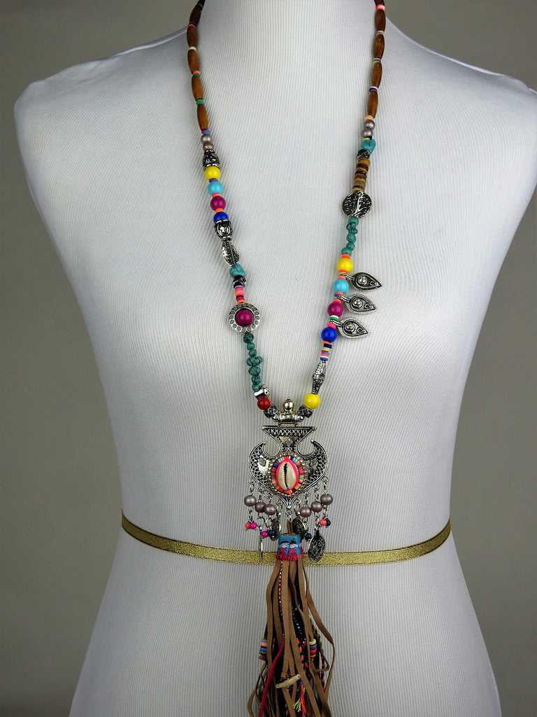 jewelry: Leather Tassel Long Necklace
