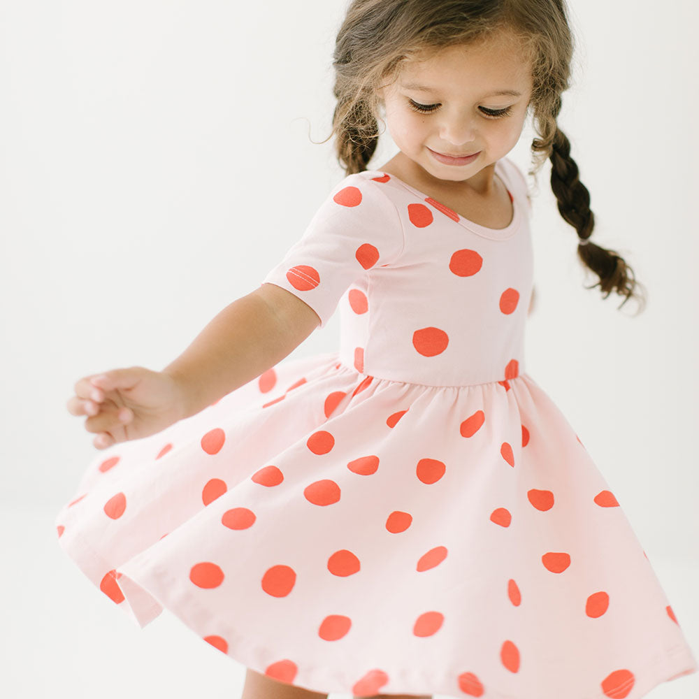THE SHORT SLEEVE BALLET DRESS IN BLUSH DOT