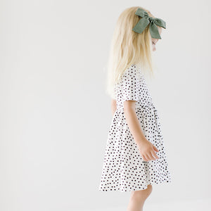THE SHORT SLEEVE BALLET DRESS IN IVORY DOT