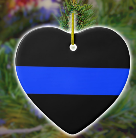 Thin Blue Line Heart Ornament