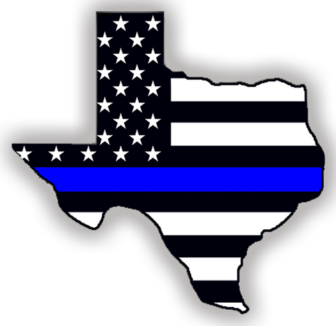 Indoor/Outdoor Decal: Thin Blue Line Texas