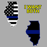 Indoor/Outdoor Decal: Thin Blue Line Illinois