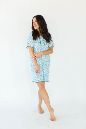 Floral Print Gauze Nightgown in Blue with All-Over Floral Design