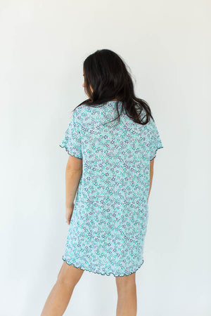 Back View Floral Print Gauze Nightgown in Blue with All-Over Floral Design